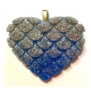 Glitter Mermaid Heart Pendant with Ball Chain